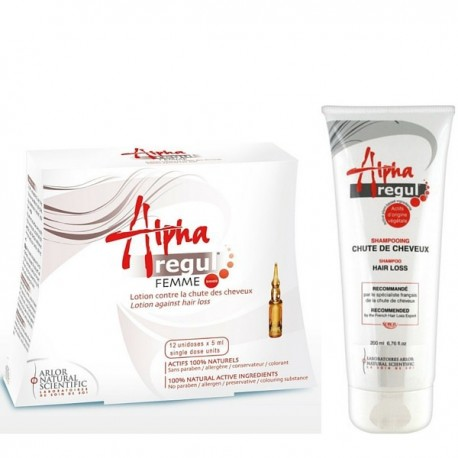 Pack Alpharegul : Lotion Femme 12*5 ml  +  Shampoing Anti-chute, 200ml