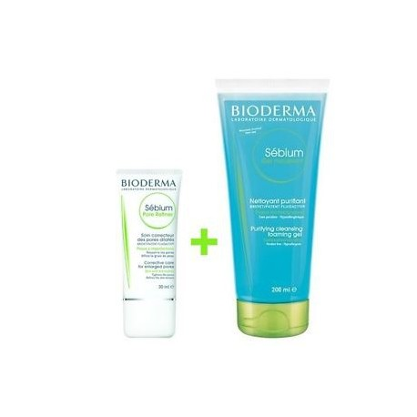 KIT BIODERMA SEBIUM: Pore Refiner + Gel Moussant